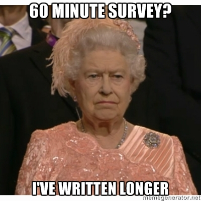 survey unimpressed queen meme