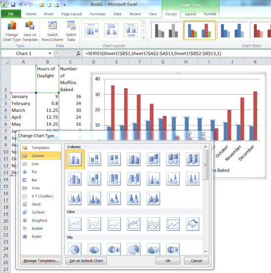 How to create an Excel bar and line chart in one | The