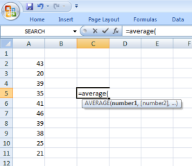 calculate mean in excel