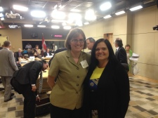 Kara and Annie at the end of the Senate committee meeting