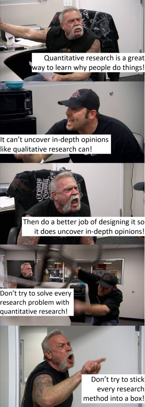 American Chopper argument meme quantitative research can be flexible